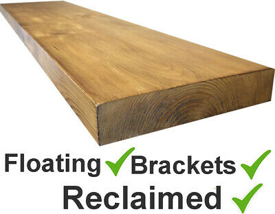 RECLAIMED Scaffold Board rustic Floating shelf shelves includes fixture brackets
