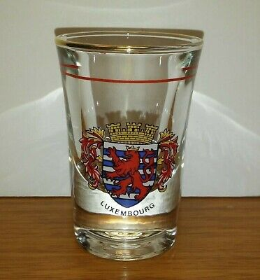 LUXEMBOURG COAT OF ARMS SHOT GLASS with FREE SHIPPING