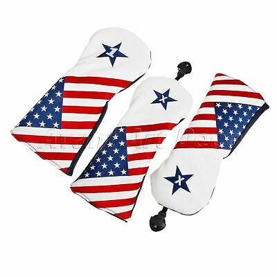 3PCS US Flag Golf Head Covers for Driver Fairway Wood Hybrid Iron Club Putter
