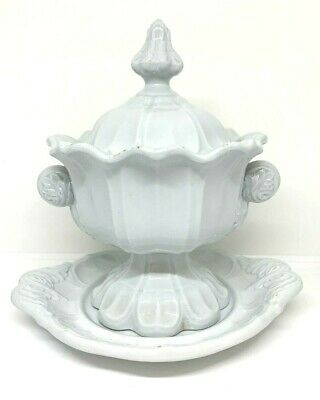 c. 1853 T.&R. Boote Ironstone Sauce Tureen w/ Plate