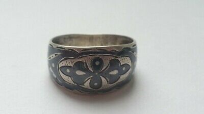 Vintage Old USSR Soviet Russian Women's Ring Sterling Silver 875 Size 8.5