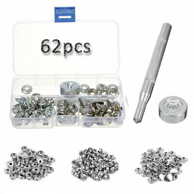 62pcs Stainless Steel Snap Fastener Screw Stud For Marine Canvas Tent Boat N0I6L
