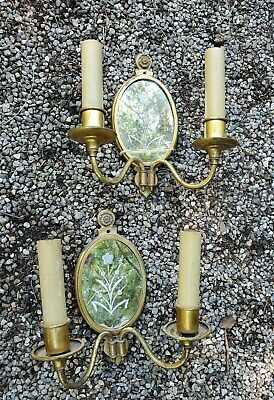 antqe BRASS double ARM wall SCONCES 2 Matched Pr ETCHED federal flowers MIRROR