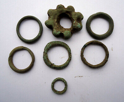 lot 7 Ancient celtic bronze ring money proto coins circa 500 BC
