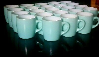 Vintage Hazel Atlas Coffee Cups 22 Turquoise Fired On Milk Glass Aqua Mugs