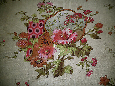 Antique 19th French Chinoisoire Floral Cotton Fabric ~  Vivid Pink Green