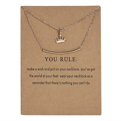 Lovely Gold Crown Pendant Necklace Clavicle Chains Womens Jewellery Party Gift