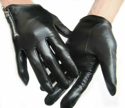 men side zipper wrist length best Italy real leather motor gloves in black