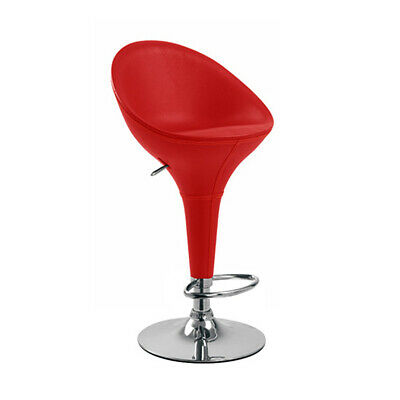 """Bombo """"Leather"""" Style High Back Barstool-Bar Stool Chair-Red-Set Of 2"""