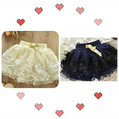 CLEARANCE Girls Toddler Baby Mini Skirt Tutu Lace white blue 1-6 years