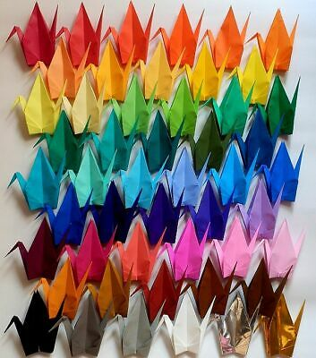 "100 Large Origami Cranes - 50 Colors - Made of 15cm 6"" Japanese Paper - Crane"