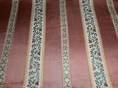 Vintage French Floral Stripe Satin Lisere Brocade Jacquard Fabric ~ Rose Green