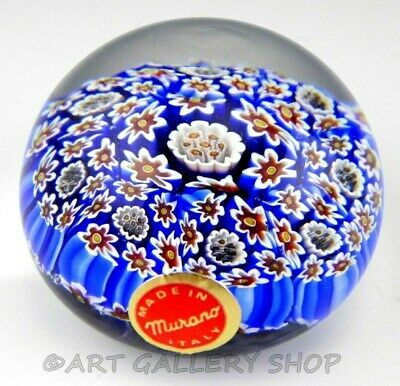Murano Italy Art Glass Paperweight SMALL MILLEFIORI BLUE RED WHITE