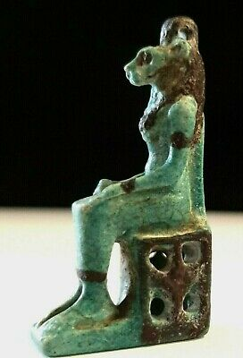 Egyptian Faience Goddess Sekhmet Seated on Her Throne Amulet