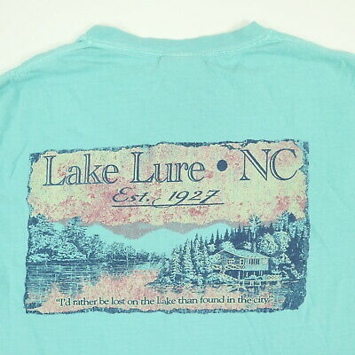 Comfort Color Lake Lure NC T-Shirt SMALL Soft Teal Green Mountain Vacation Cabin