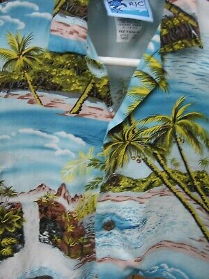 RJC Boy's Hawaiian Beach Tropical Shirt Rayon Sz 18M USA MADE