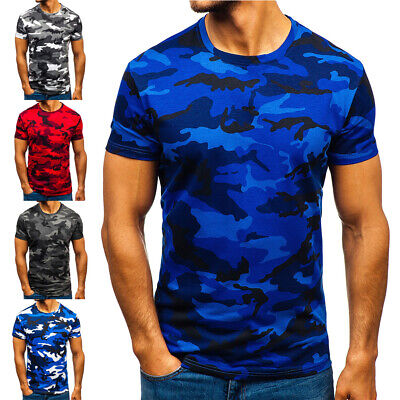 Men Short Sleeve Print Camo Military T-Shirt Summer Slim Fit Army Combat Tee Top