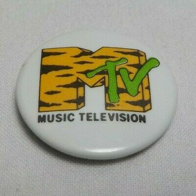 VINTAGE MTV MUSIC TELEVISION BUTTON BADGE PIN 1980s