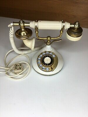 VINTAGE FRENCH STYLE ROTARY PHONE Ceramic Brass Art Deco Old Antique