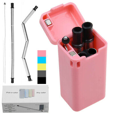 Reusable Metal Folding Collapsible Drinking Straw Portable W/ Cleaning Brush Kit