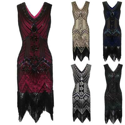 1920s Style Beaded Sequined Deco Fringe Flapper Gatsby Dress DL0 06