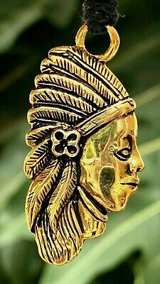 INDIAN native tribal chief head Gold Color Brass Charm Necklace Pendent Jewelry