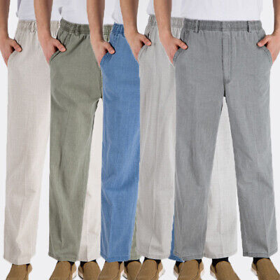 Men Pants Trousers Summer Drawstring Loose Cotton Linen Oversize Casual Yoga