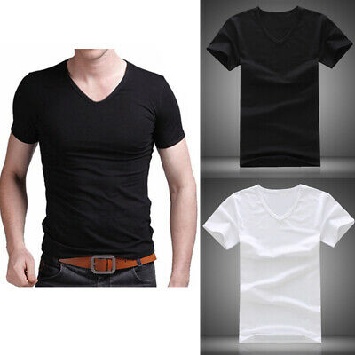 Summer Men V Neck Slim T-Shirt Tops Cotton Short Sleeve Black White