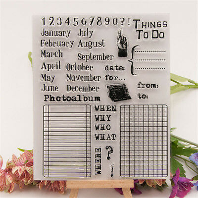 Calendar Rubber Clear Stamp Cling Seal Scrapbooking Diary Card DIY Decor SA