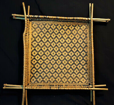 South American Warao Indian Square Cassava sifting Basket Vintage 1950s Handmade