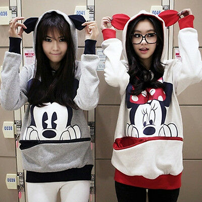 Women Cute Mickey Mouse Hoodie Sweatshirt Jumper Zip Pocket Hooded Pullover Tops