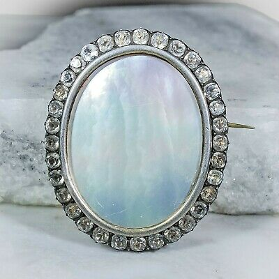 Antique Georgian / Early Victorian Large Silver & Paste Mother of Pearl Brooch