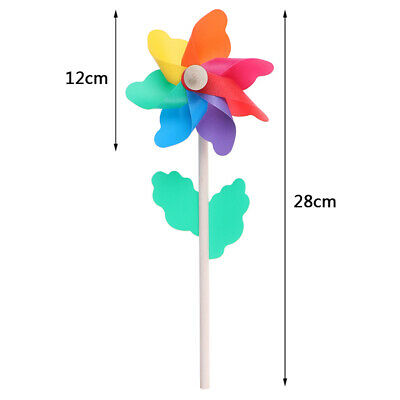 Colorful wood windmill garden party 7 leaves wind spinner ornament kids toys ^S