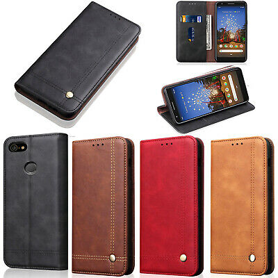 For Google Pixel 3a XL Luxury Vintage Leather Wallet Flip Card Case Stand Cover