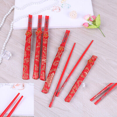 Red chopsticks Chinese wood bag holder dinnerware flatware kitchen food stick EZ