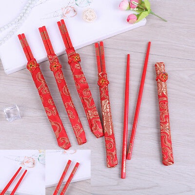 China bamboo chopsticks red dragon chinese pattern reusable 1pair useful stickEZ