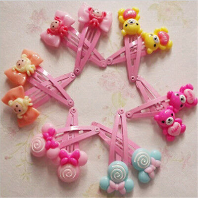 10 Pcs Cartoon Beads Candy Color Hair Clips Girls' Hair Ties Kids BB Hairpin EZ