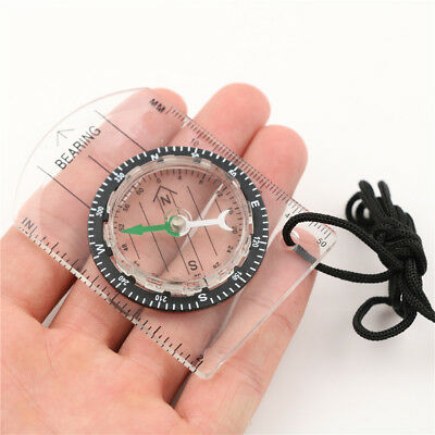 Outdoor Military Mini Compass Scale Ruler Baseplate For Camping Hiking EZ