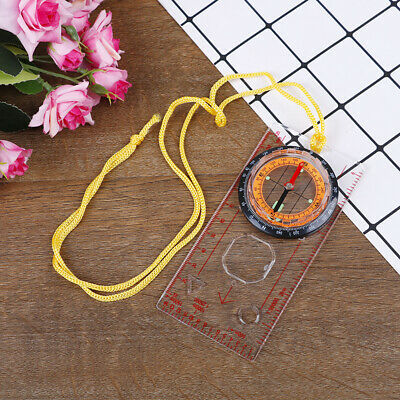 1* Camping Compass Outdoor Portable Hiking 'Camping Ruler Map Magnifier Compass