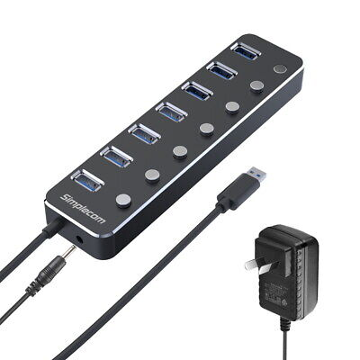 Simplecom CH375PS Aluminium 7 Port USB 3.0 Hub with Individual Switches