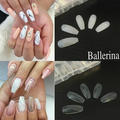 100/500Pcs Fashion Half Cover Fake Nail Long False Ballerina Nails DIY Art Decor