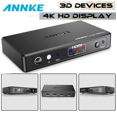 ANNKE 3 Ports HDMI Switch IR Remote Control Switcher Box Supports HD 4K 1080P 3D