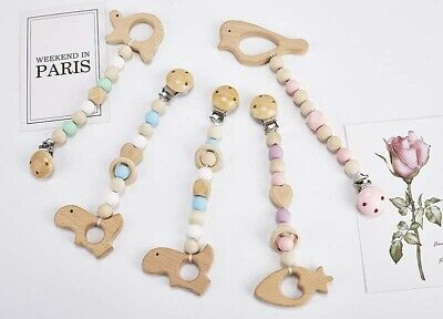 Silicone Beads Teething Wood Animal Holder Pacifier Clip Dummy Soothers Chain