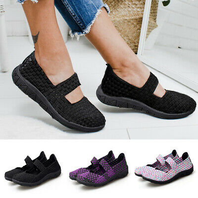 Womens Ladies Breathable Slip On Trainers Woven Elasticated Summer Shoes Sizes