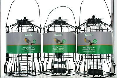 Large Green Squirrel Proof Wild Bird Feeders Seed/ Fat Ball/Nut Feeding Stations