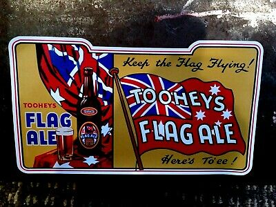 """""""Toohey's Flag Ale"""" Decal / Sticker Beer Lager Breweriana Advert Poster Pub"""