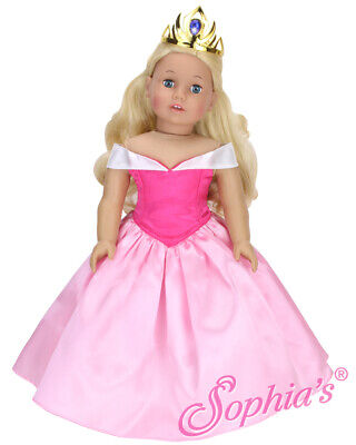 "Sleeping Beauty Pink Princess Dress Slippers & Tiara for 18"" American Girl Doll"