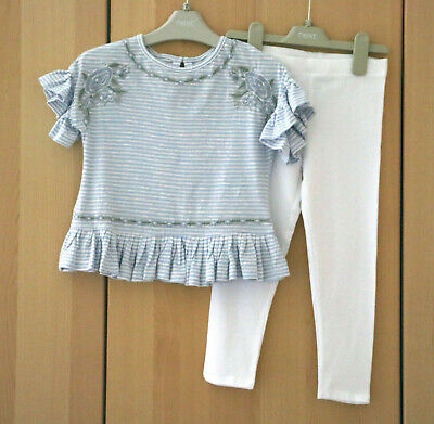 Next Girls Blue Peplum Stripe Top & White  Leggings Age 5 Years BNWT
