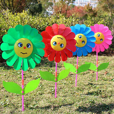 Sunflower windmill garden yard party outdoor wind spinner ornament kids toys ^S