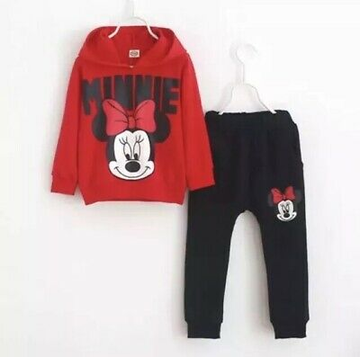 2pcs Kid Girls Minnie Mouse Tracksuit Hoodie Sweatshirt Tops + Pants Outfit Set